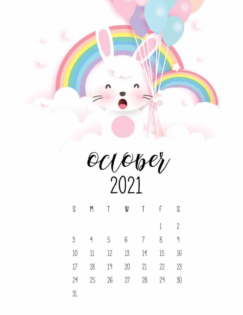 October 2021 Calendar Cute Rabbits And Rainbows