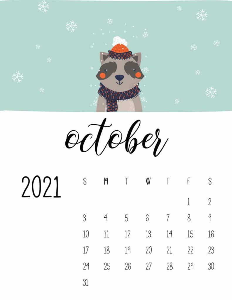 October 2021 Calendar Cute Winter Animals