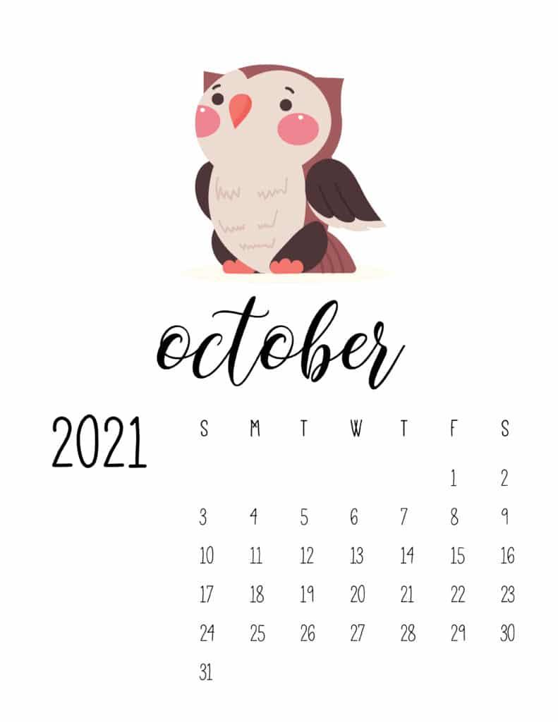 October 2021 Calendar Forest Woodland Animals