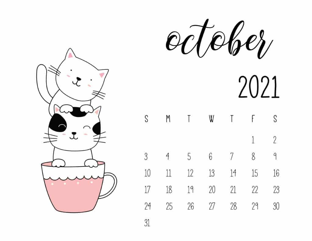 October 2021 Calendar Kittens in Tea Cups