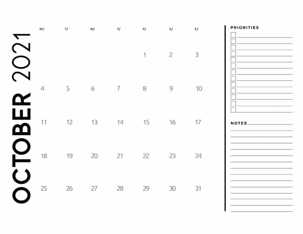 October 2021 Calendar Priorities And Notes