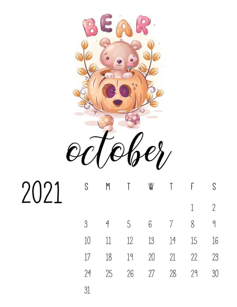 October 2021 Calendar with Cute Happy Animals