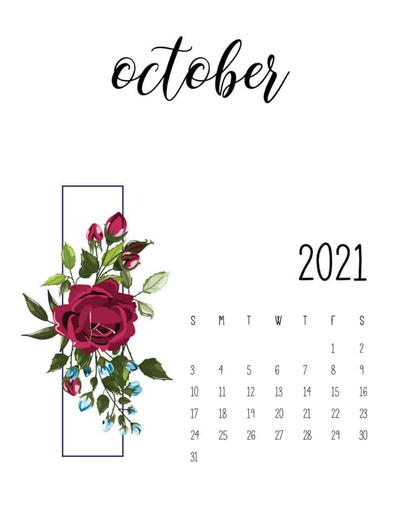 October 2021 Floral Calendar Free