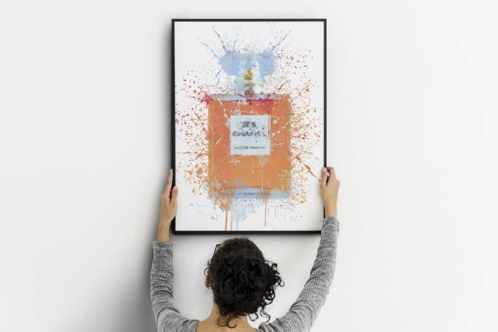 Pink Perfume Bottle Splash Wall Art