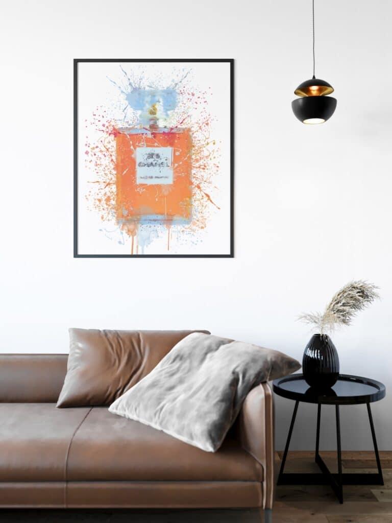 Pink Perfume Bottle Abstract Splatter Printable Wall Art