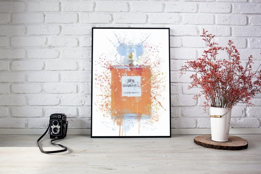Pink Perfume Splash Wall Art Mockup 2