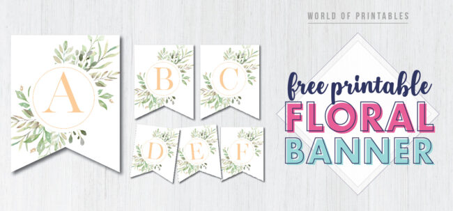 Printable Floral Banner Free Printable. Free Printable Happy Birthday Banner. Floral happy birthday banner free printable party decor. Birthday sign print out for birthday party.