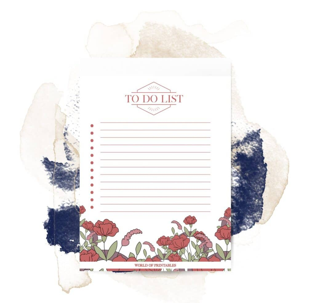 Printable Red Floral To Do List