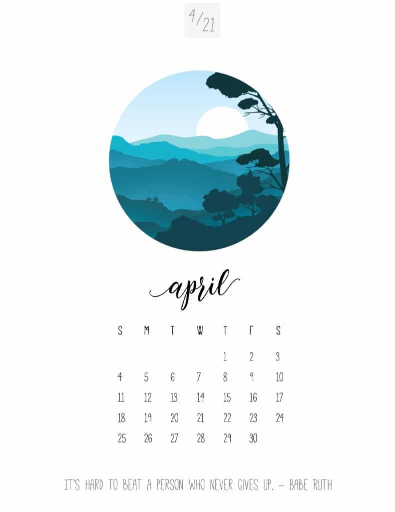 Scenic April 2021 Calendar