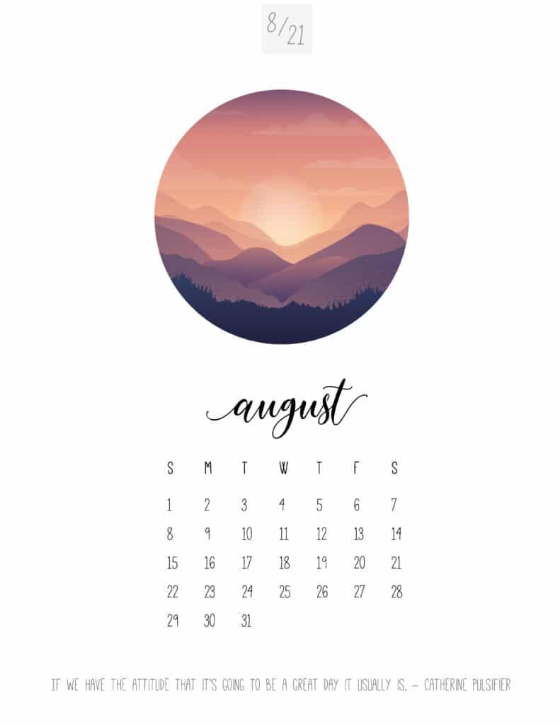 Scenic August 2021 Calendar