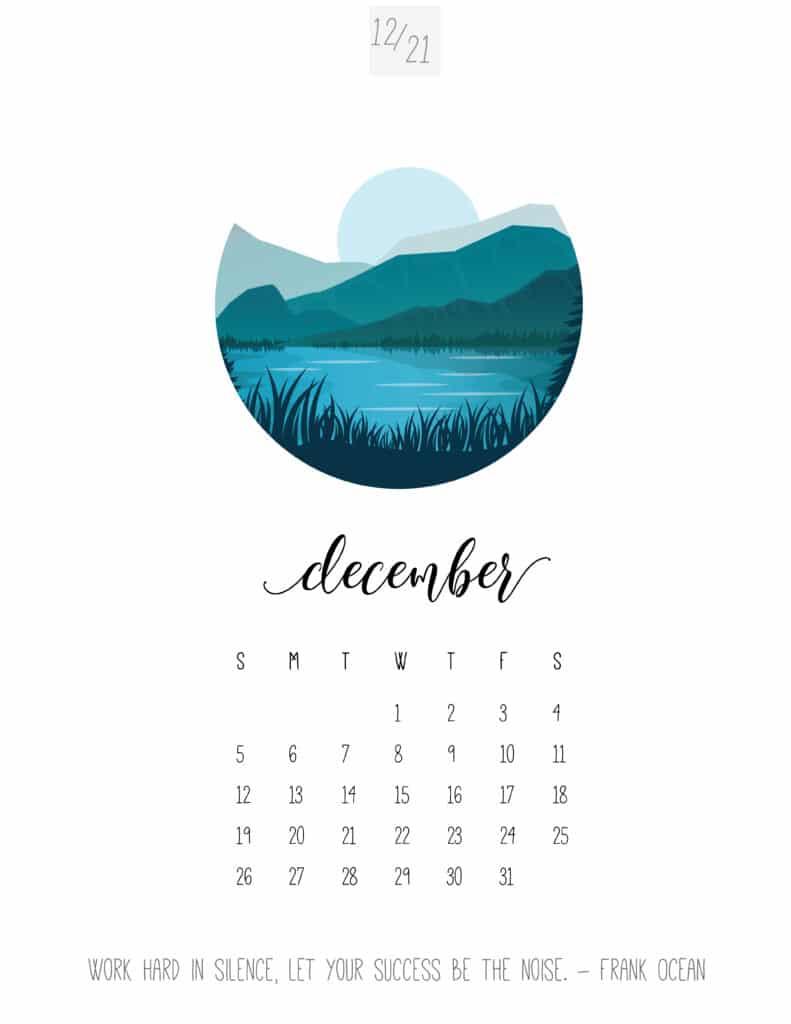 Scenic December 2021 Calendar
