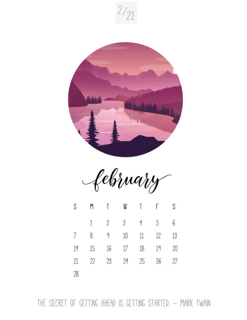 Scenic February 2021 Calendar