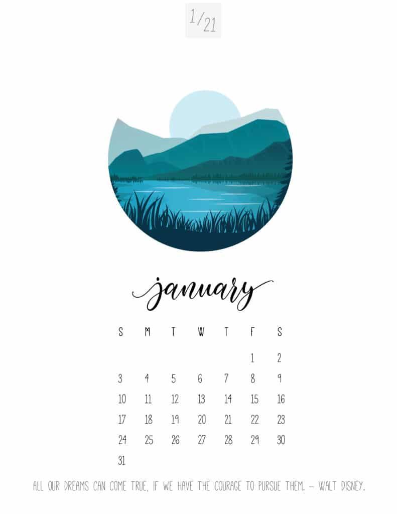 Scenic January 2021 Calendar