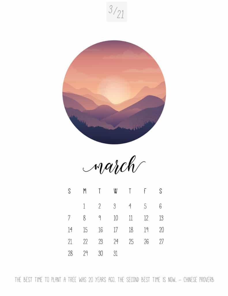 Scenic March 2021 Calendar