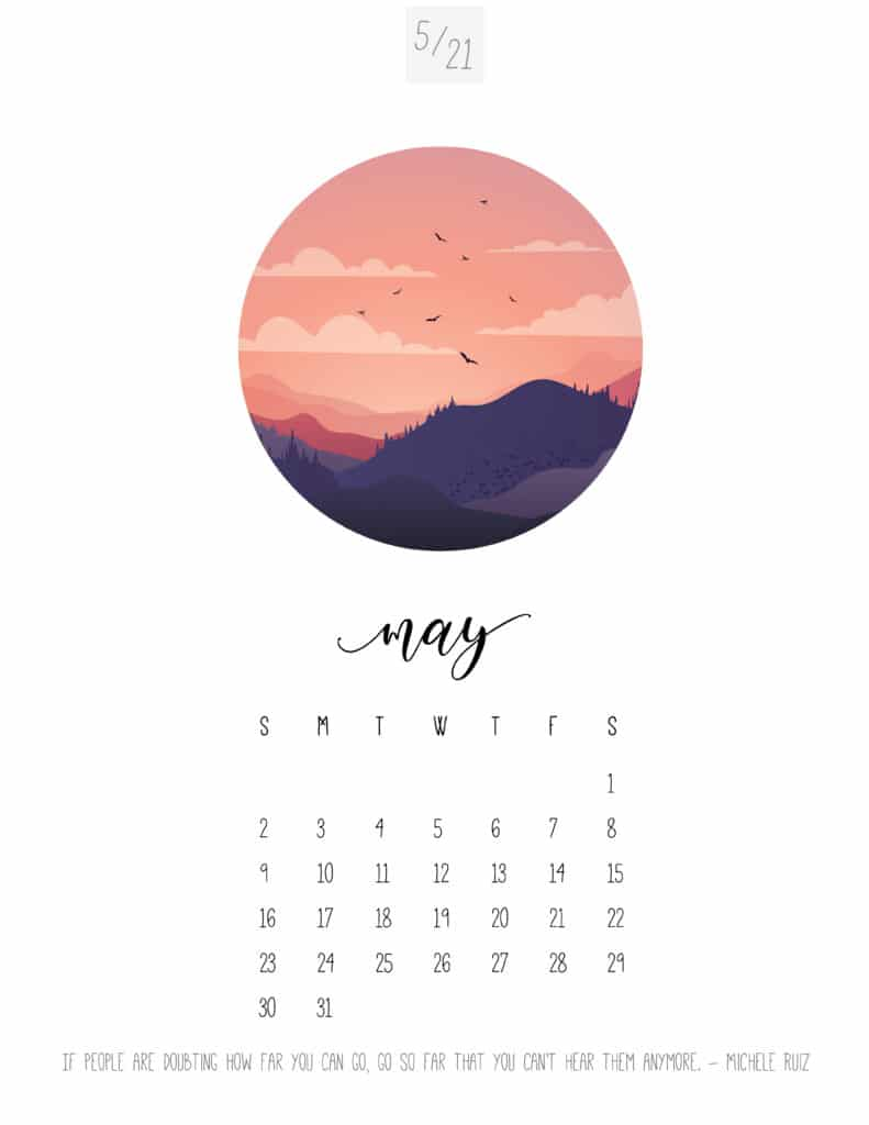 Scenic May 2021 Calendar