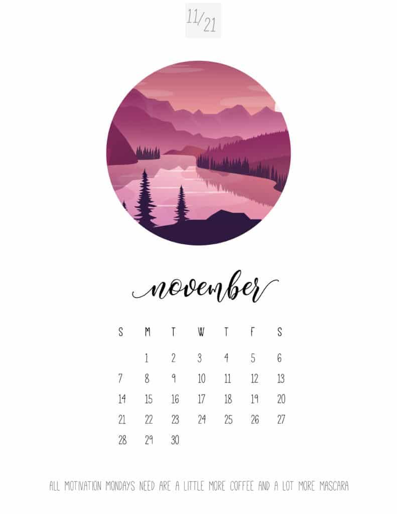 Scenic November 2021 Calendar