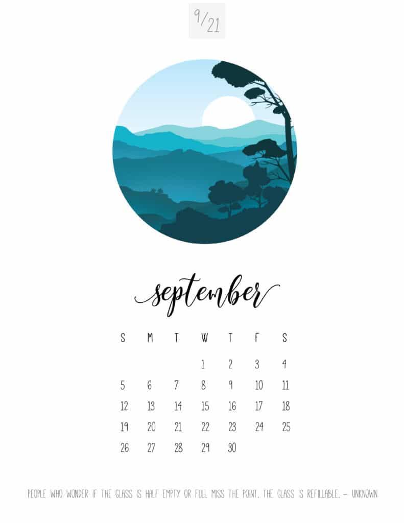 Scenic September 2021 Calendar