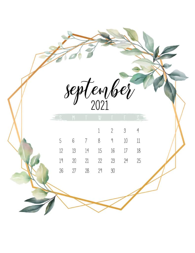September 2021 Calendar Botanical Free Printable