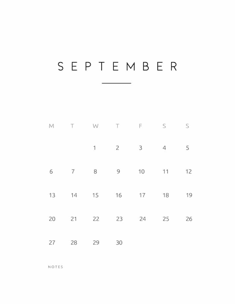 September 2021 Calendar Contemporary Style