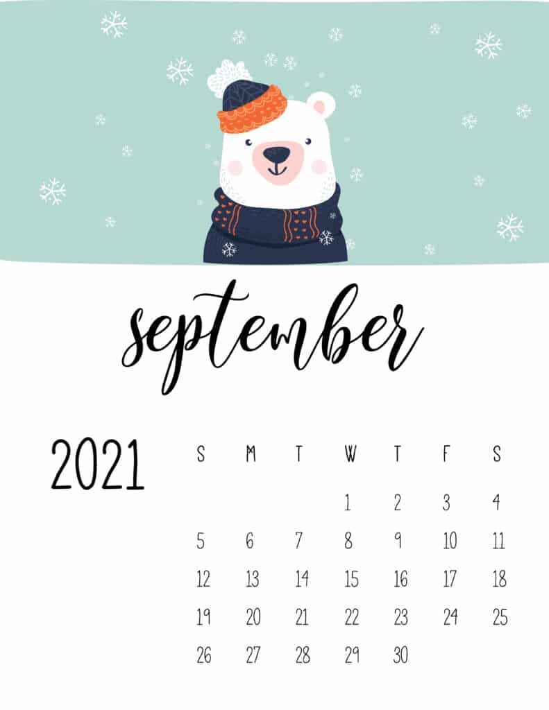 September 2021 Calendar Cute Winter Animals