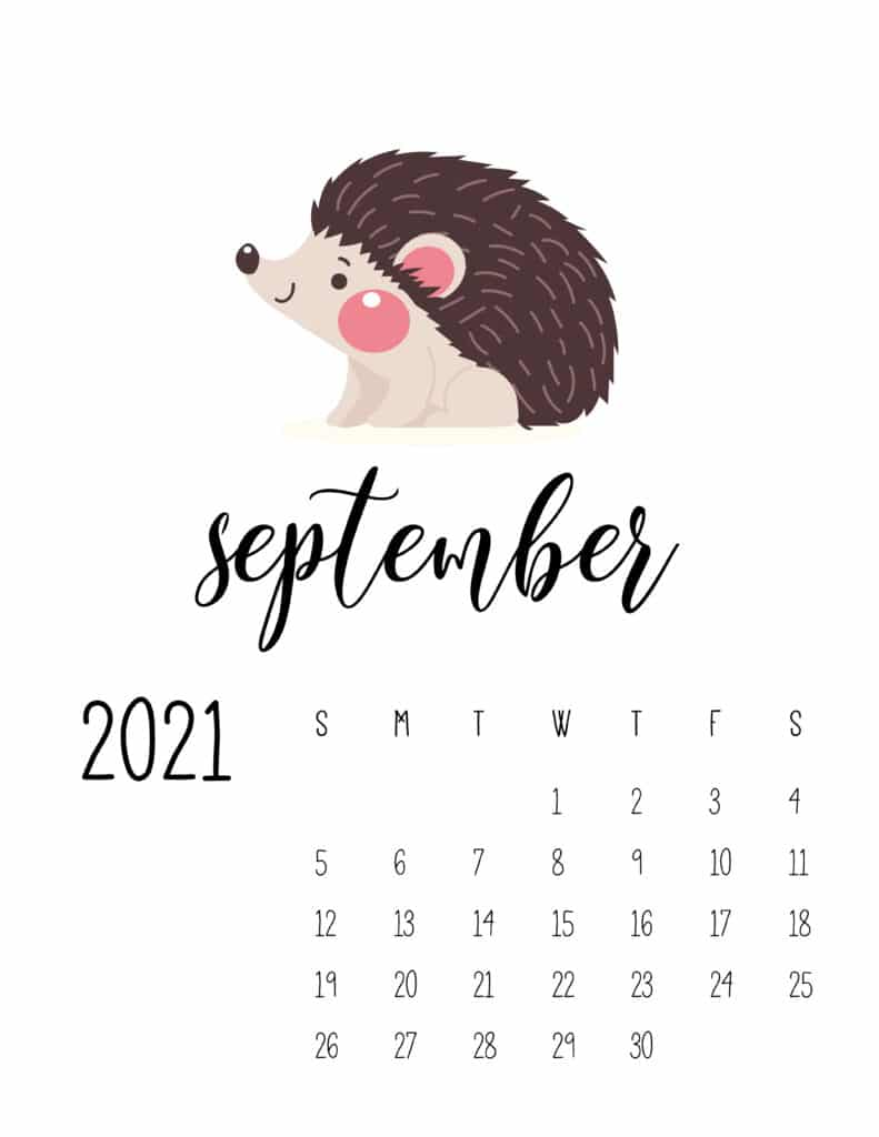 September 2021 Calendar Forest Woodland Animals