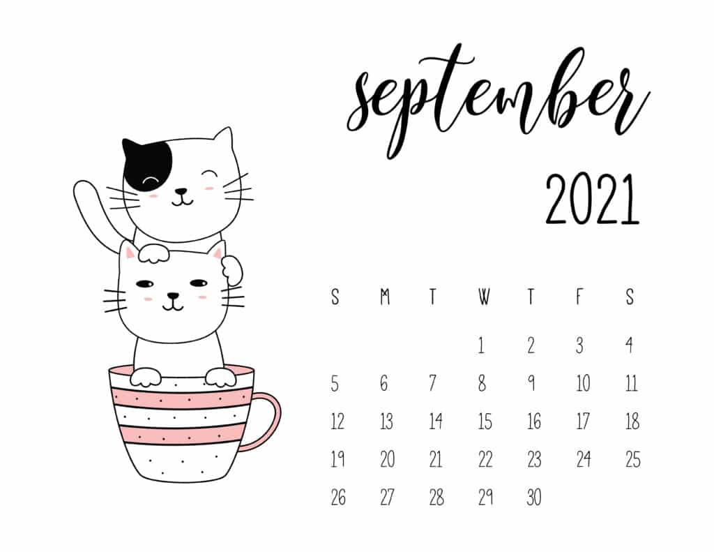 September 2021 Calendar Kittens in Tea Cups