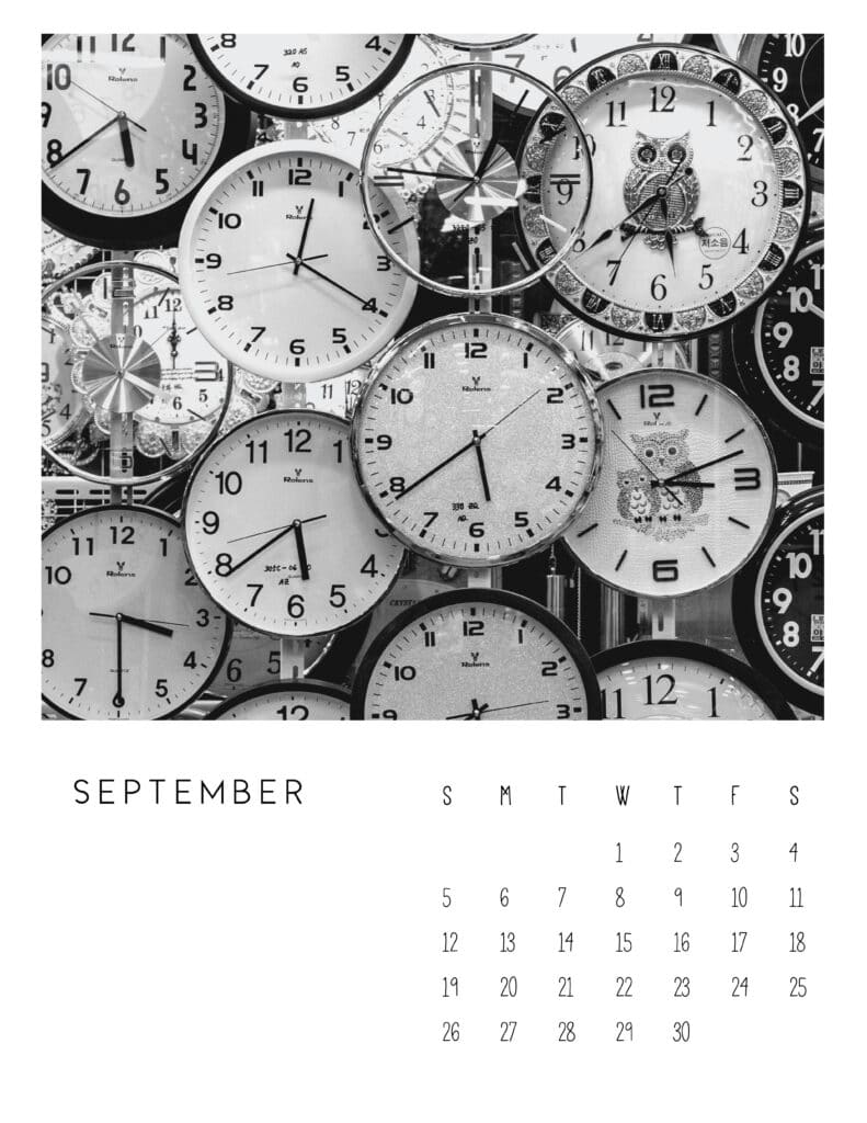 September 2021 Calendar Monochrome Photography
