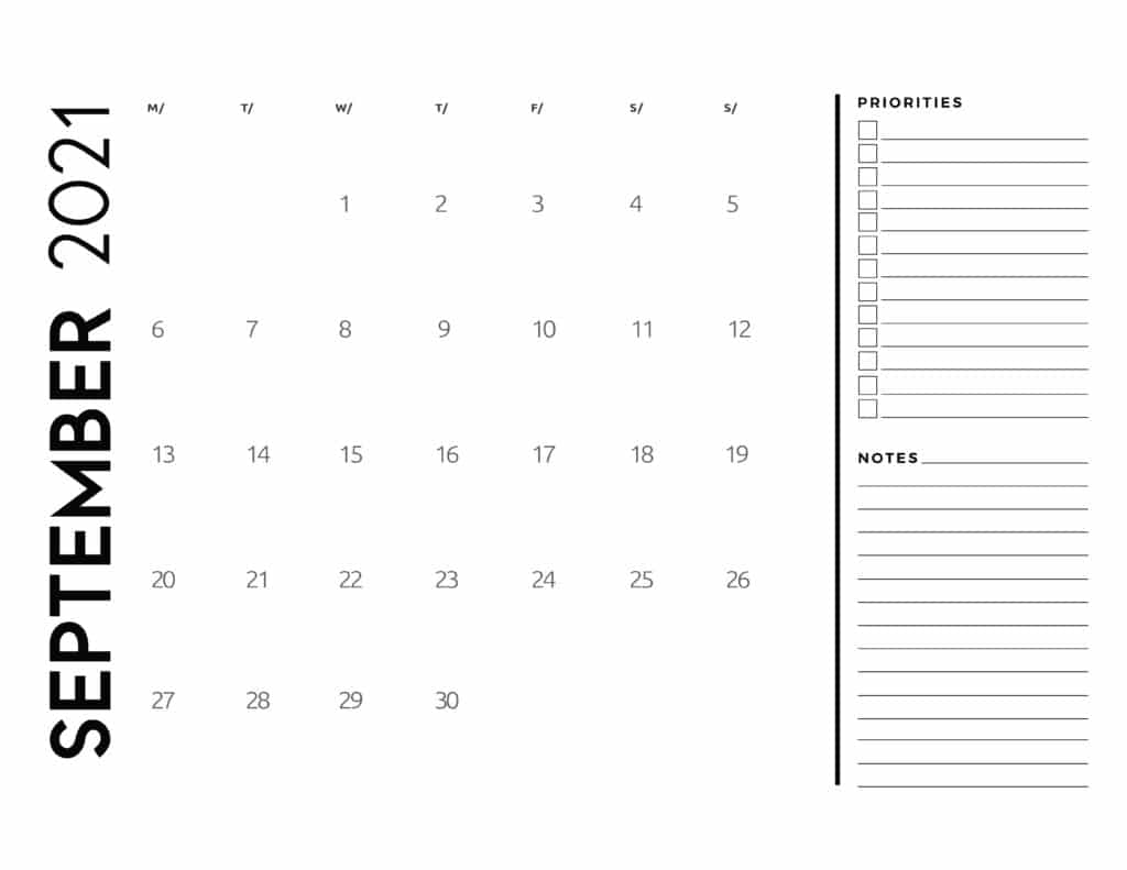 September 2021 Calendar Priorities And Notes