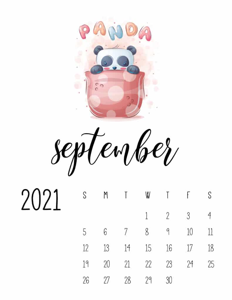 September 2021 Calendar with Cute Happy Animals