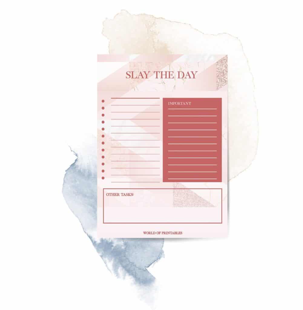 Slay The Day To Do List printable