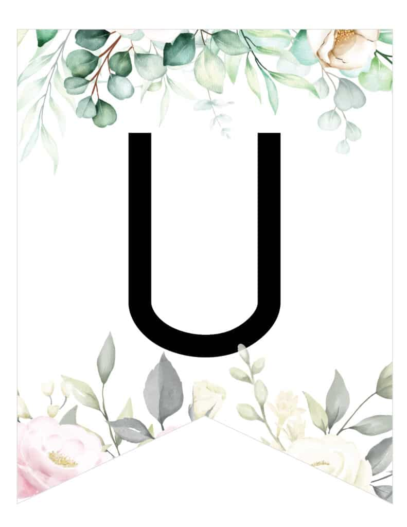 Free Printable soft botanical floral banner letters template. Customize these banner flag pennants for birthday party, bridal shower or wedding party.