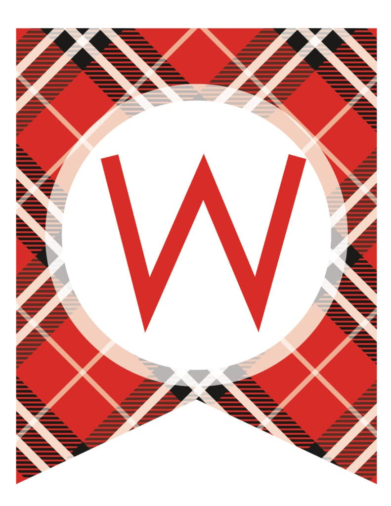 Free Printable tartan plaid banner letters. Customize these banner flags for the perfect pennant birthday party banner.