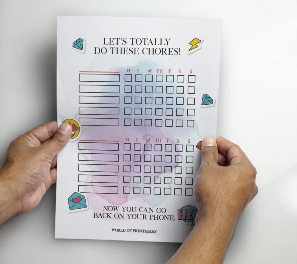 Printable Teen Emoji Kids Chore Chart