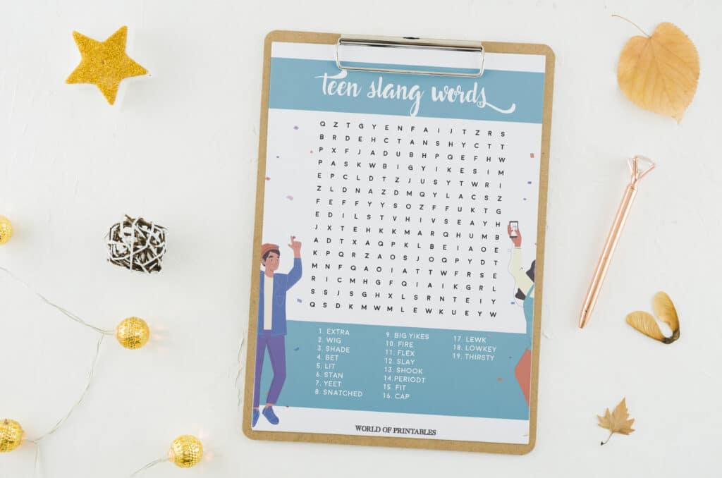 Teen Slang Word Search