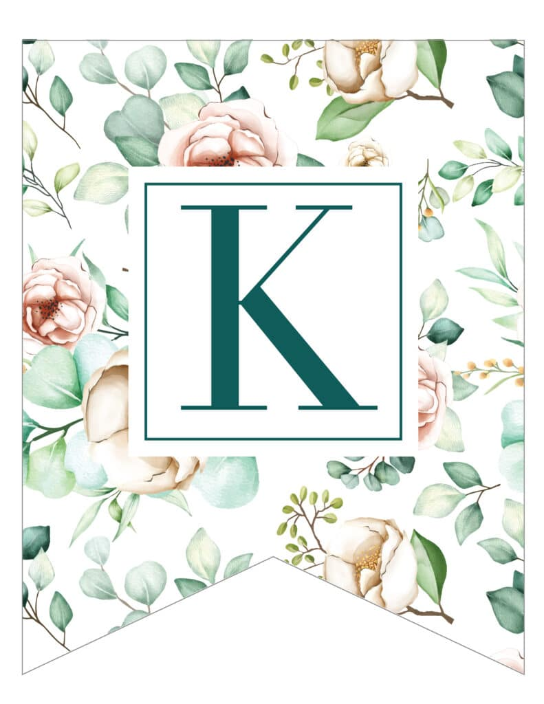 Free Printable traditional banner letters are perfect for celebrating a wedding party or bridal shower. Elegant floral printable banner letters.