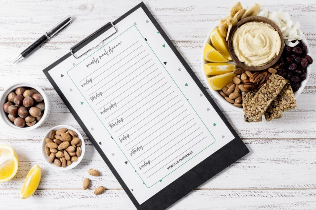 Triangle Pattern Meal Planner printable