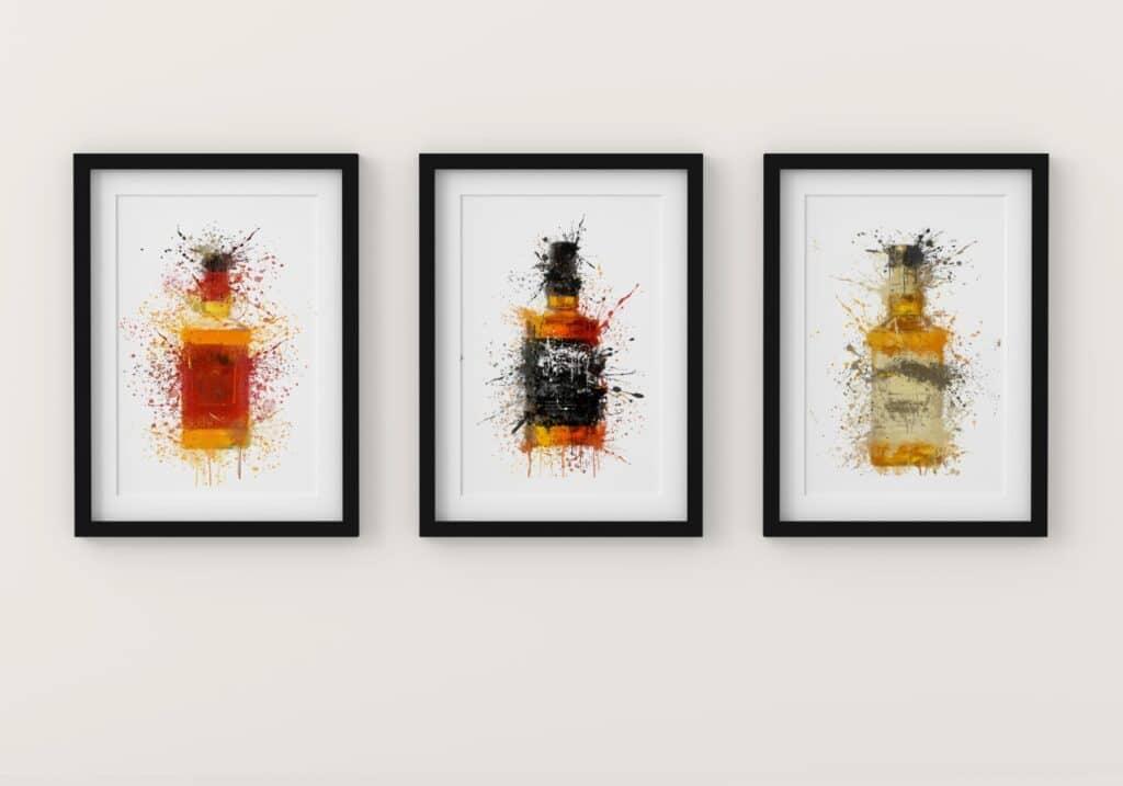 Trio of Bourbon Bottles Splash Wall Art