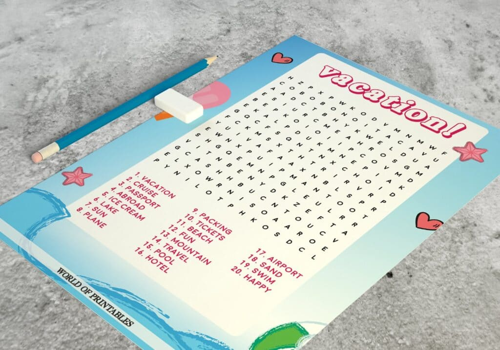 Vacation Word Search