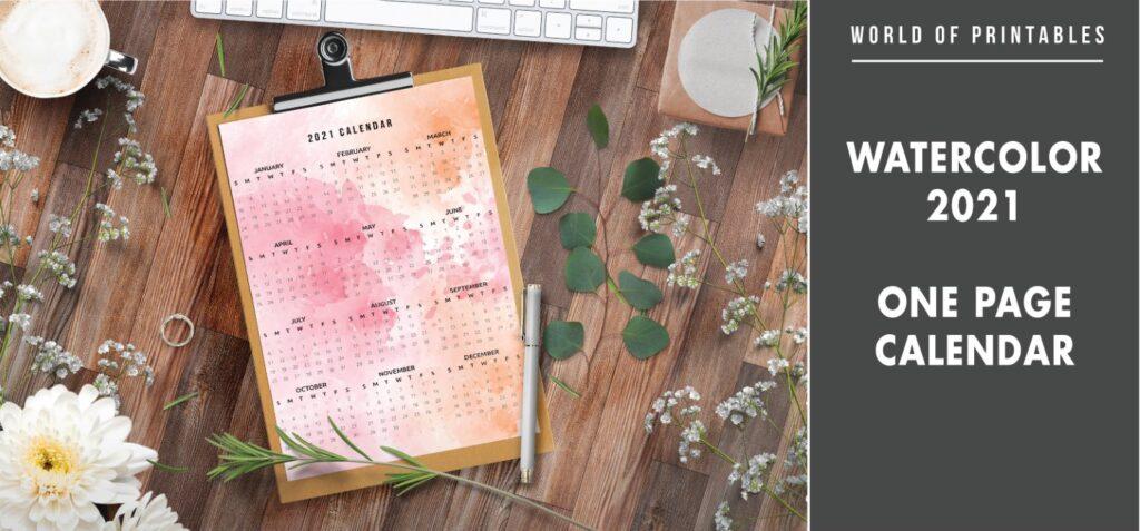Watercolor 2021 one page calendar