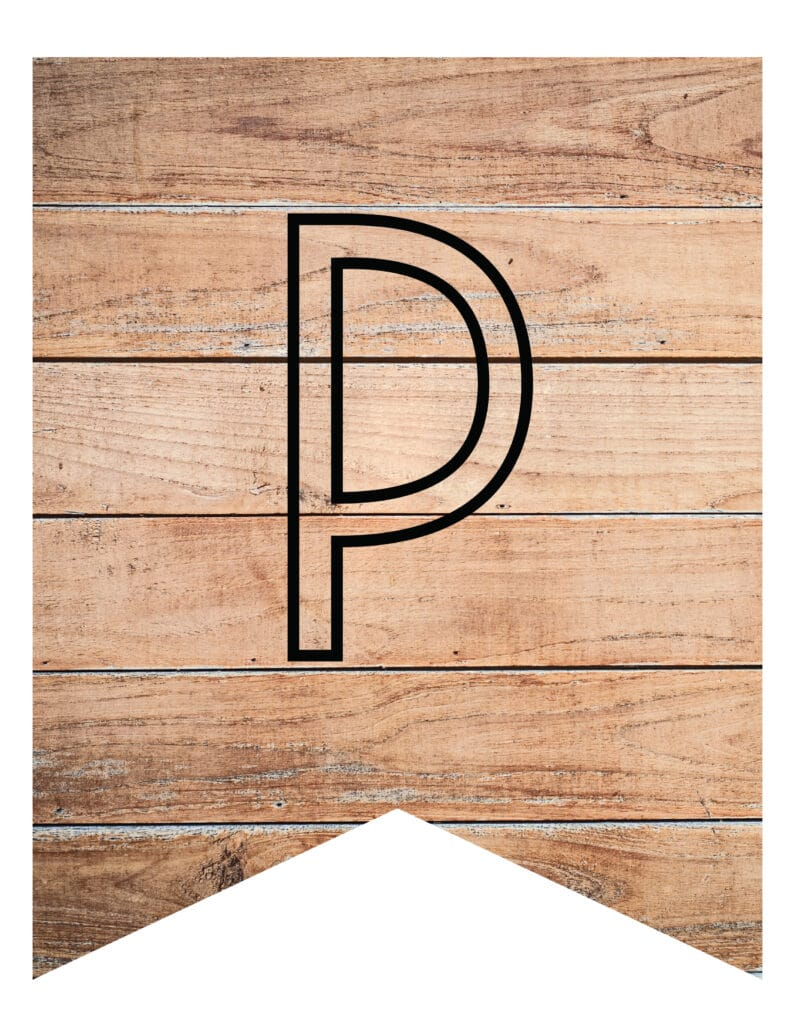 Free Printable wooden themed banner letters. Rustic wooden theme style printable banner letters template.