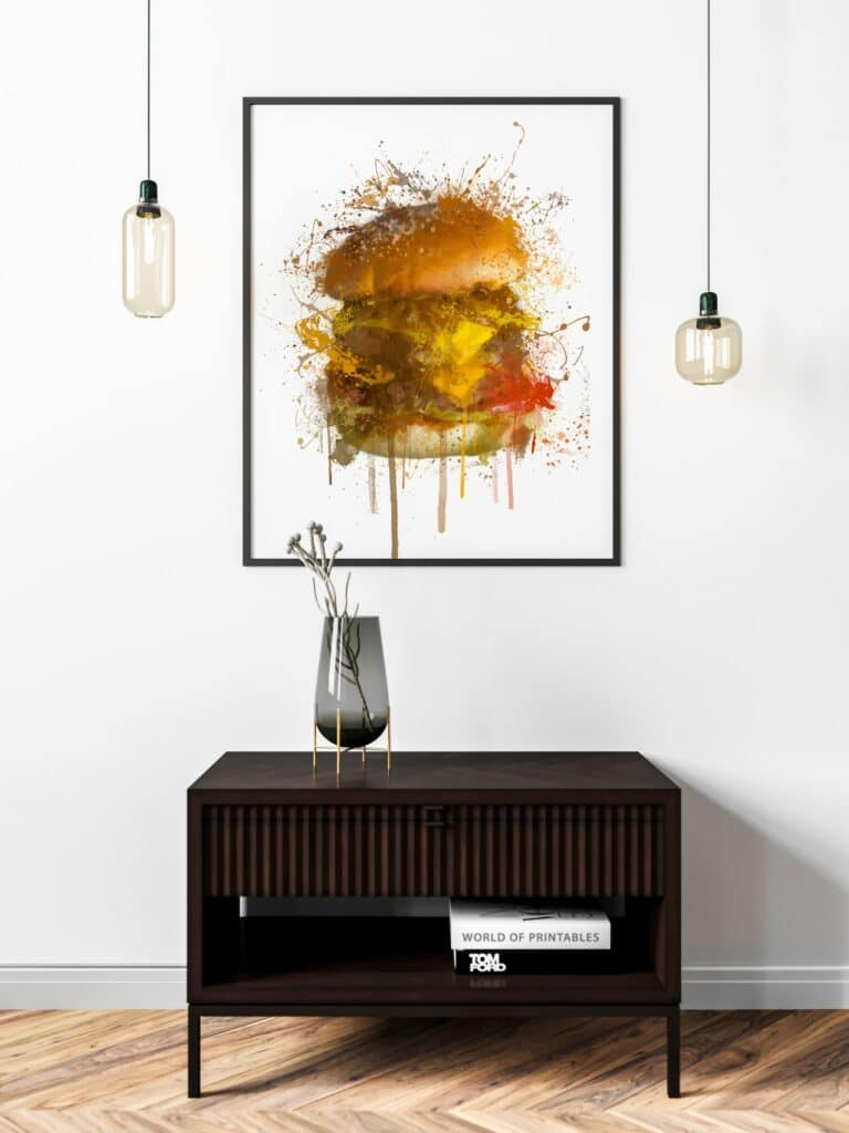 Burger Abstract Splatter Printable Wall Art