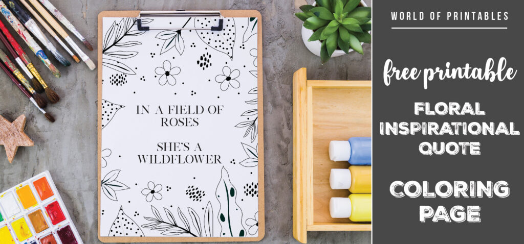 floral inspirational quote coloring page