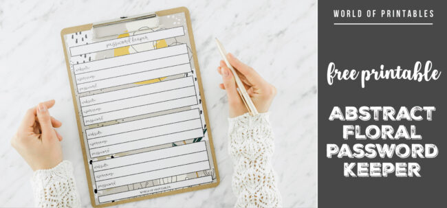 free printable Abstract Floral Password Keeper