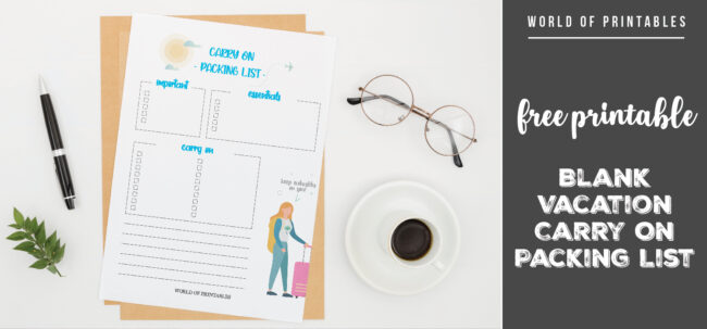 free printable Blank Vacation Carry On Packing List-01