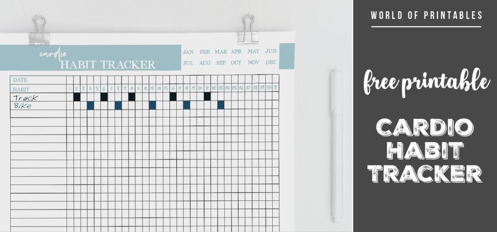 free printable Cardio Habit Tracker