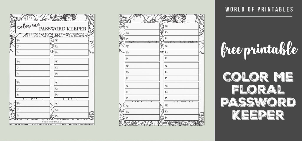 free printable Color Me Floral Password Keeper