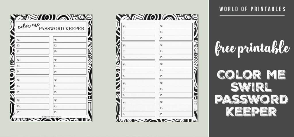 free printable Color Me Swirl Password Keeper