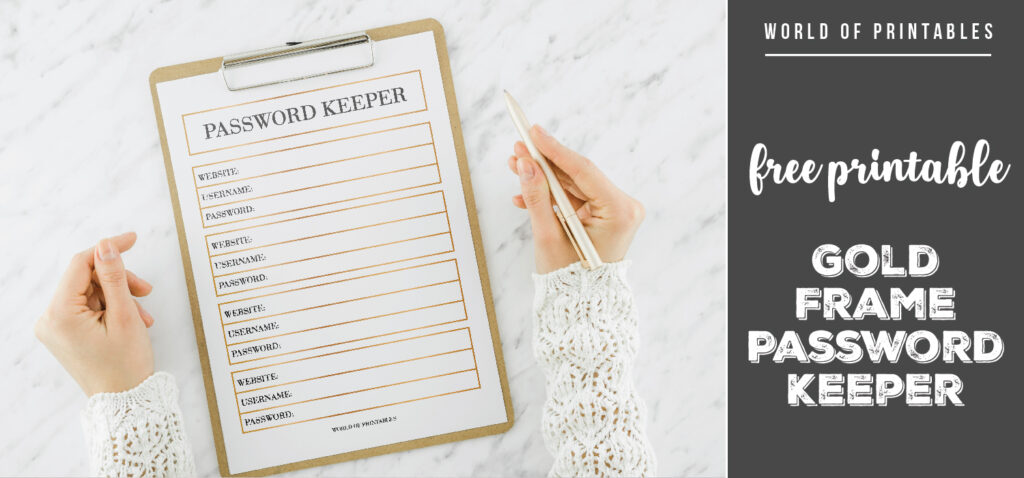 free printable Gold Frame Password Keeper