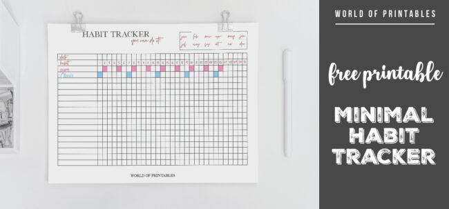 free printable Minimal Habit Tracker
