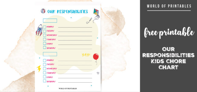 free printable Our Responsibilities Kids Chore Chart